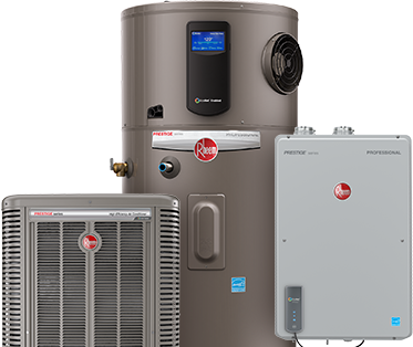 Rheem water heater, hybrid water heater, and air conditioner